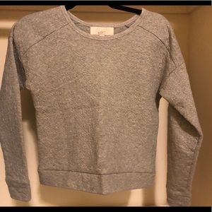 LOFT XS gray crew neck quilted sweatshirt